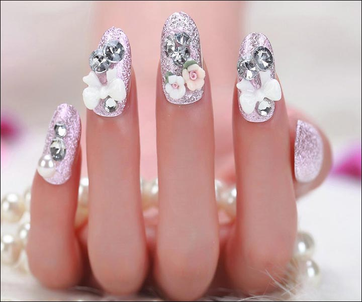 Shimmer And Shine Bridal Nail Art