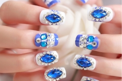 Blue-diamond-natural-Wedding-French-Finger-Nail-Art-Designs