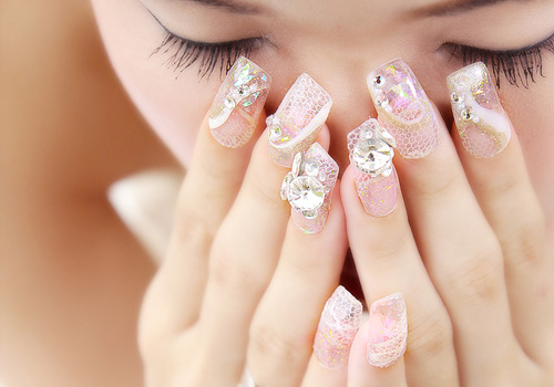 Bride nail art nail magic if you have several different style of dress for your wedding party we may design several nail art to match your wedding dress make you always look prinsesfo Images